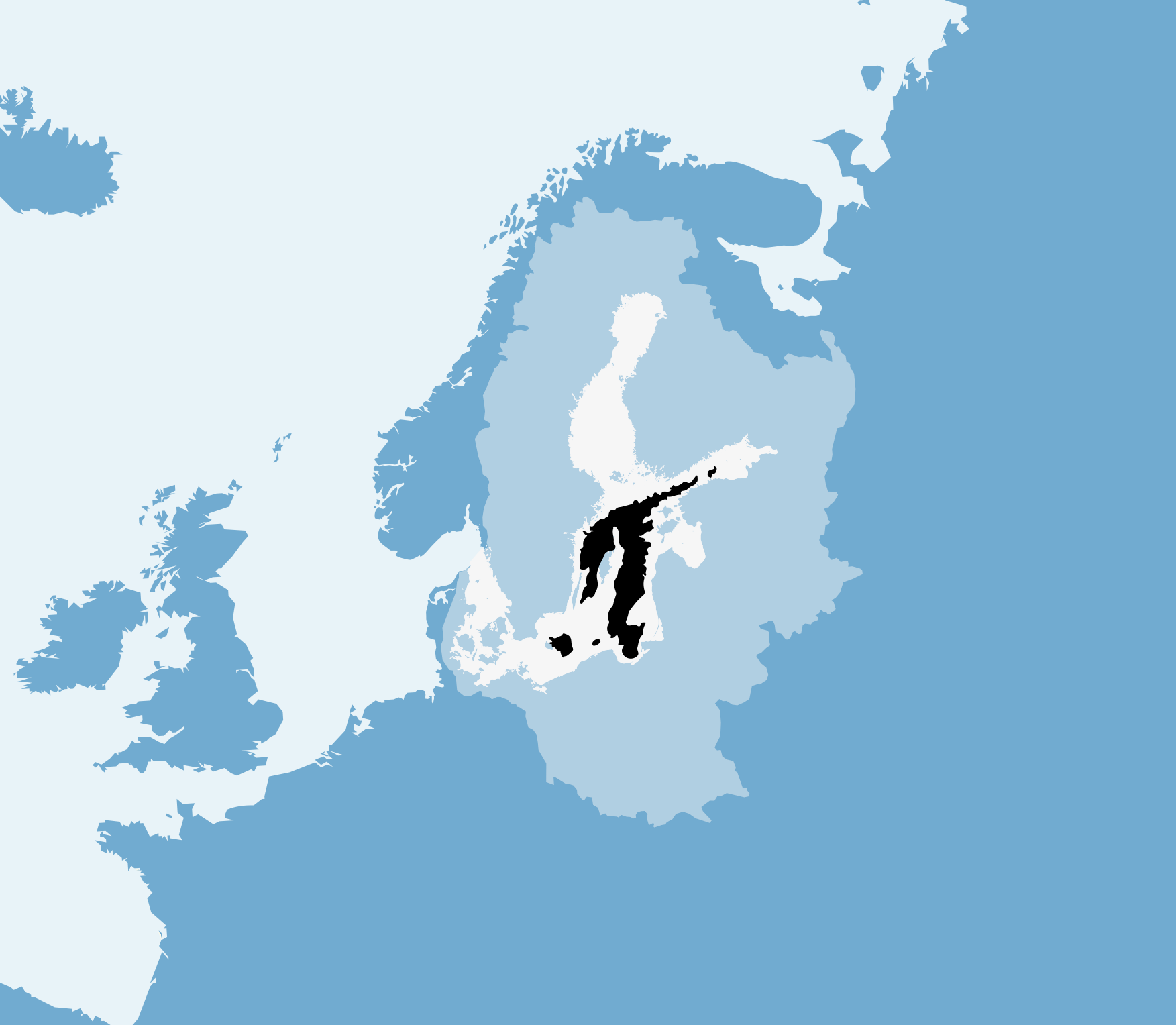 Currently, the Baltic Sea is home to the world's largest dead zone (in black), which has dramatically reduced the area where cod can spawn and has altered the food chain in deep waters. The light blue represents the catchment area.